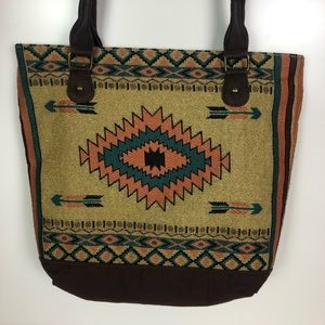 Handbags - Aztec Print Large Embroidered Tote